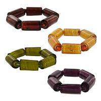 Glass Foil Love - Glass and foil Stretch Bracelet