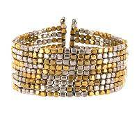 Free Style  - Metal Beaded Stretch Cuff Bracelet