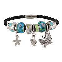 Life's Beauty - Charm Bracelet with Silvery Metal Beads on Faux Leather Band