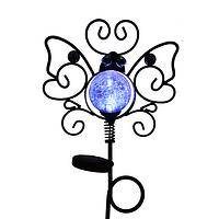 Winged Wonder  - Metal and Glass Butterfly Solar LED Light Up Garden Stake