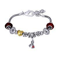 Charming Diabetes Awareness - Gray Ribbon Spinning Charm Serpentine Bracelet