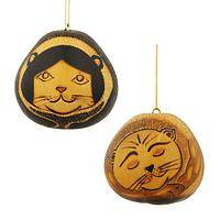 Wild Cats - Serenely Handsome Hand-Painted Gourd Cat Ornament