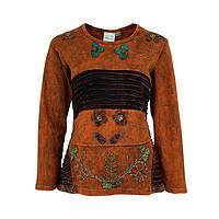 Earthly Delights of Nepal - Long Sleeve Handmade 100% Cotton Embroidered Floral Top