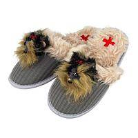Warm Toes, Warm Heart - Fuzzy Nation Yorkie Felt and Corduroy Slippers