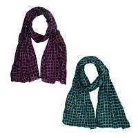 Bold Checkerboard - Handmade Scrunchy Cotton Jewel-Tone Scarf