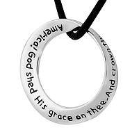 America The Beautiful - American Anthem Silvery Hoop Pendant Necklace