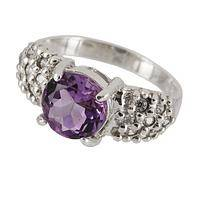 Purple Passion - Handmade Fair Trade Crystal and Amethyst Sterling Ring