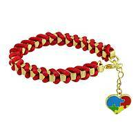 The Puzzle of Love - Satin-Wrapped Golden Box Chain Autism Awareness Bracelet