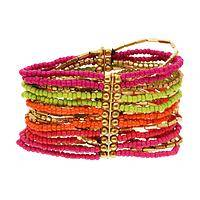 Island Spirit - Brass and Glass Beaded Stretch Wrap Colorful Island Bracelet