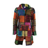 Echoes of Color - Handmade Fair Trade Patchwork Multi-Color Hooded Jacket