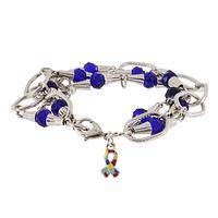 Speak Up for Autism Awareness - Crystal Blue and Autism Puzzle Charm Bracelet