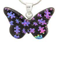Fluttering Fantasy  - Handcrafted Dichroic Glass and Sterling Butterfly Necklace