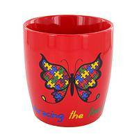 Amazing Butterfly - Red Porcelain Autism Awareness Butterfly Puzzle Mug
