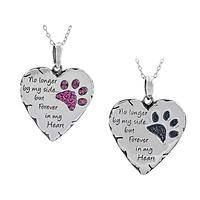 A Loving Memory - Forever In My Heart Metal and Enamel Paw Print Pendant