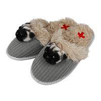 Sweet Feet - Fuzzy Nation Pug Slippers with Rubber Soles
