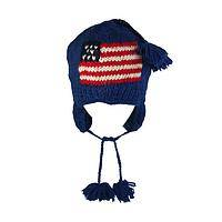 Warmth and Pride - Hand-Knitted Wool American Flag Hat