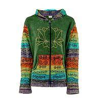 Rainbow in Bloom - Handcrafted Cotton Rainbow-Trimmed Lotus Flower Hoodie
