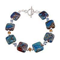 Mystical Seas - Crazy Lace Agate and Austrian Crystal Bracelet