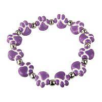 Put Your Paws in the Air - Purple Paws for Rescue Hand-Painted Ceramic Stretch Bracelet