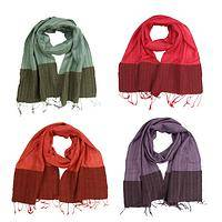 Tonal Elegance - Handwoven Raw Silk/Cotton Color Block Scarf