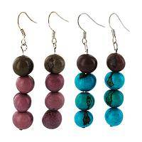 The Colors of the Earth - Handmade Acai Berry Brilliant Hues Dangle Earrings