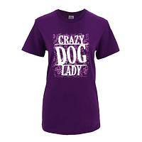 Unabashed Dog Lover - Crazy Dog Lady Purple Preshrunk Cotton T-Shirt