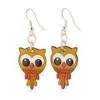 Who Me? - Hand Carved and Painted Owl Gourd Earrings