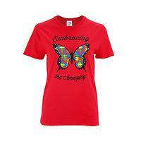 Miraculous Outlook - Embrace and Amaze Autism Support Butterfly Cotton T-Shirt