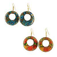 Flower Market - Vivid Handpainted Floral Wood Dangle Earrings