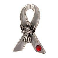 Angel of Wellness - Angelic Crystal-Embellished Diabetes Awareness Ribbon Pin