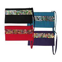 Extravagant Details - Dramatic Beaded and Sequined Fabric Wristlet In Vivid Hues