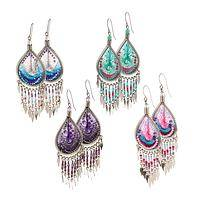 Peacock Splendor - Handwoven Paisley Thread & Bead Chandelier Earrings
