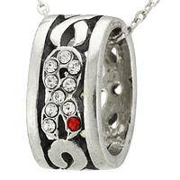 Ring of Solidarity - Pewter and Rhinestone Diabetes Awareness Pendant