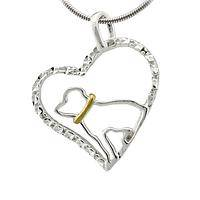 Watching Over My Heart - Handmade Sterling & Brass Dog Love Necklace