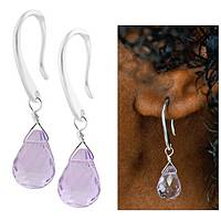 Shimmering Lilac - Amethyst Briolette and Sterling Silver Drop Earrings