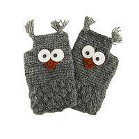 Warm Woodsy Owls - Hand-Knitted Wool and Fleece Fingerless Gloves