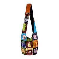 Crazy Cat Lady - Handcrafted 100% Cotton Patchwork Cat Sling Bag