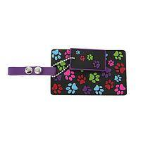 The Colors of Rescue - Bright and Colorful Paws Galore Luggage Tag With Key Fob
