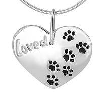 Be Loved Paws - Sterling Silver Heart Shaped Inspirational Paws Necklace
