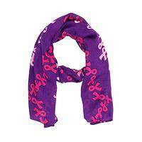 Pink Meets Purple - Twill scarf designed with pink ribbons to show support