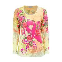 Sparkling Swirls - Breast Cancer Pink Ribbon & Flowers Rhinestone Women's Top