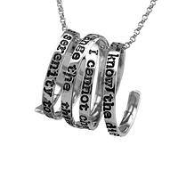 Serenity Strength - Silver Metal Coiled Wrap Necklace With Serenity Prayer