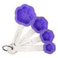 Purple Paw Measuring Spoon Set - A Silicone Set Of Purple Paw Measurement Spoons