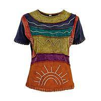 Sunrise On The Water - Handmade Bohemian Beauty Short-Sleeve Cotton Top