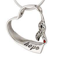 Shining Heart of Hope - Sterling and Crystal Heart Necklace in Hope For Diabetes