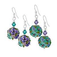 Blossoming in Glass - Lampwork Glass Bead Earrings - Made in the USA