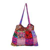 Colorful Celebration - Handbag Created From Embroidered Patchwork Squares