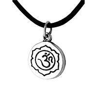 Lotus of Enlightenment - Sterling Silver Om Pendant Necklace on Black Cord