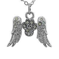 Heavenly Flight - Angel Wings And Paw Print Silver-Tone Rhinestone Necklace