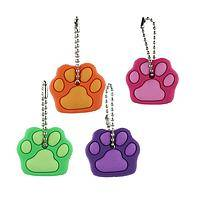 Colorful Paw Key Set - Set Of 4 Brightly Colored Paw Printed House Or Car Key Cover
